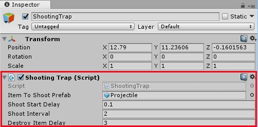 Настройка компонента скрипта ShootingTrap для тайловой карты в Unity