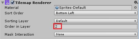 Настройка параметра Tilemap Renderer тайлового слоя Goal для тайловой карты в Unity