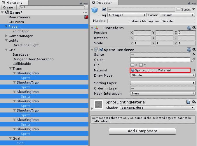Настройка материала для игровых объектов на тайловой карте в Unity