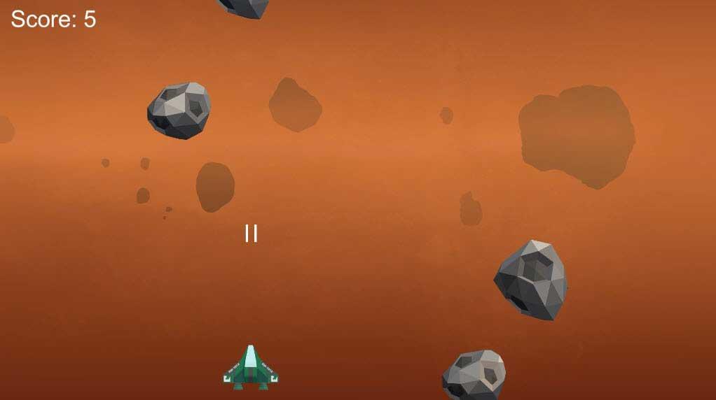 Экран игры в Unity: корабль, который выстреливает лазером и астероиды