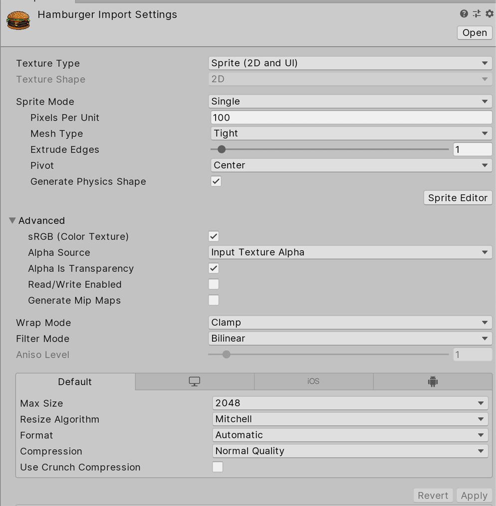 Настройки импортирования спрайтов в Unity