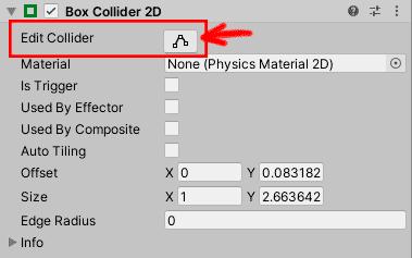 Настройка компонента Box Collider 2D персонажа Катто в игре-платформере в Unity