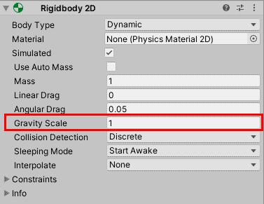 Изменение параметра Gravity Scale компонента Rigidbody 2D в Unity