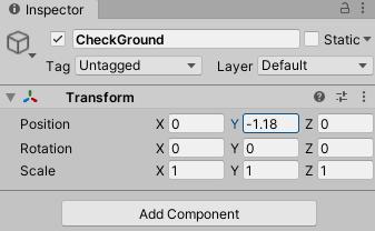 Настройка компонента Transform игрового объекта Ground Check в Unity