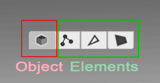 Разные значки графического интерфейса для режима выделения в Probuilder, разделенные на две группы: объект и элементы