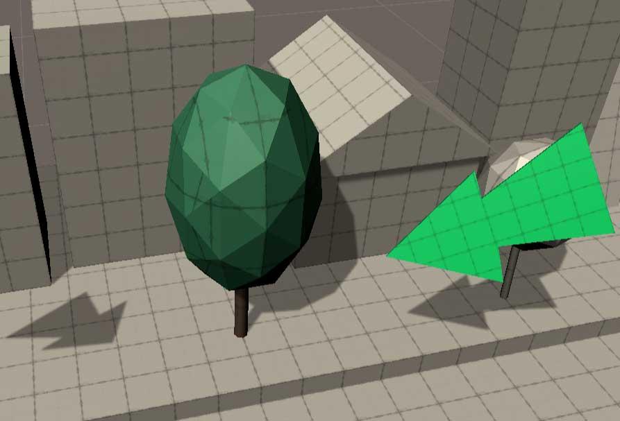 Игровой объект дерево, раскрашенный при помощи vertex colors в редакторе Unity