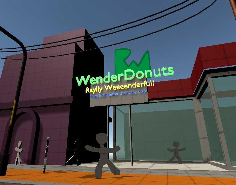 Скрин магазина WenderDonuts, сделанного с помощью probuilder в редакторе Unity