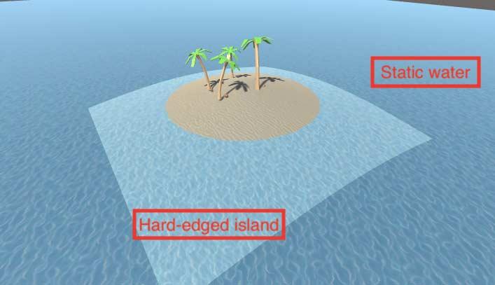 Сцена песчанного острова в начале создания шейдеров в Unity