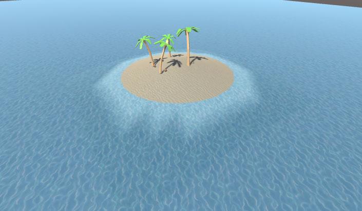 Сцена песчанного острова со смешанными краями