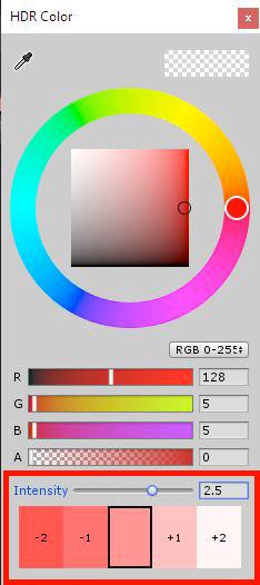 Дополнительный параметр настройки цвета HDR Color Intensity в Shader Graph редактора Unity