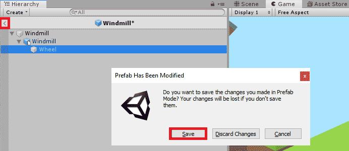 Окно предложением сохранить префаб в редакторе Unity