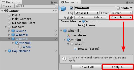 Применение изменений ко всем игровым объектам префаба в Unity