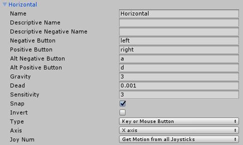 Окно диспетчера опроса данных с устройств ввода в Unity