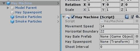 Параметры компонента скрипта игрового объекта в окне Inspector редактора Unity