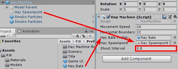 Настройка параметров компонента скрипта игрового объекта в окне Inspector редактора Unity