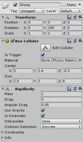 Настройки игрового объекта Sheep в окне Inspector редактора Unity