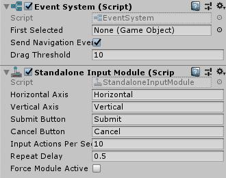 Компонент системы событий в редакторе Unity