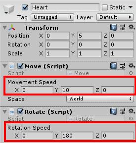 Настройка компонента Rotate в окне Inspector редактора Unity