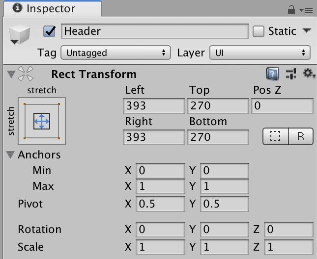 Параметры компонента Rect Transform в окне Inspector редактора Unity