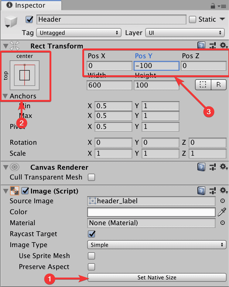Настройка свойств заголовка пользовательского интерфейса для игры в окне Inspector редактора Unity