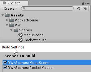 Добавление сцен в сборку проекта редактора Unity