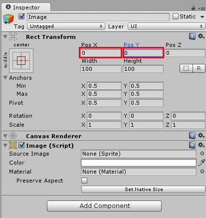 Настройка параметров Rect Transform в окне Inspector редактора Unity