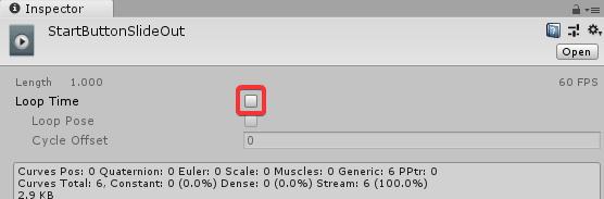 Установка отметки для повторения воспроизведения анимации в окне Inspector редактора Unity