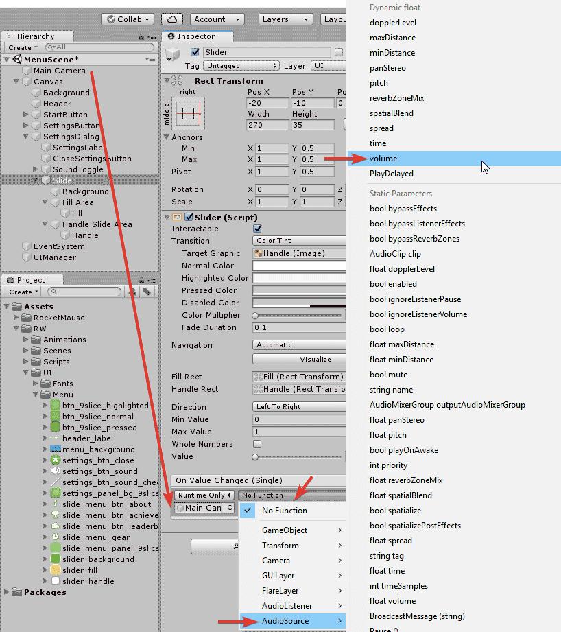 Добавление функции обработчика событий элементу пользовательского интерфейса в окне Inspector редактора Unity