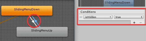 Установка условий для перехода состояний анимации в окне Animator редактора Unity