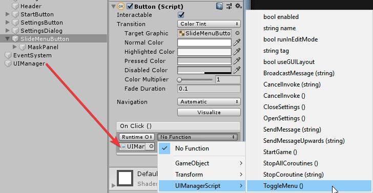 Установка функции обработчика нажатия на кнопку в окне Inspector редактора Unity