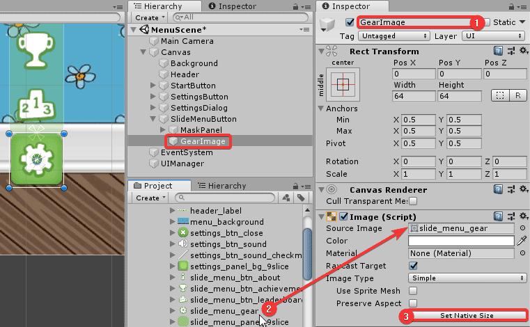 Установка параметров для изображения кнопки в окне Inspector редактора Unity