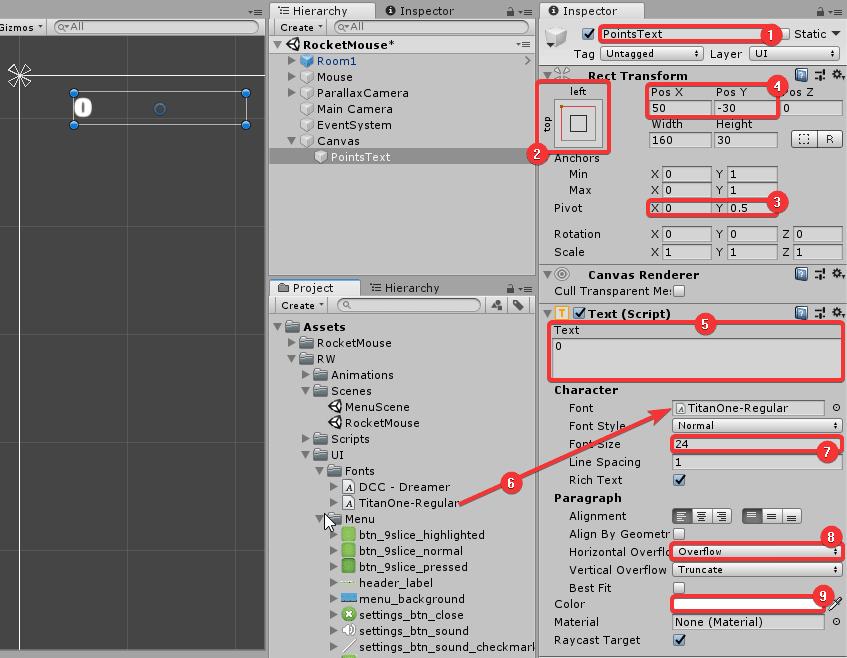 Настройка параметров текстового объекта в окне Inspector редактора Unity