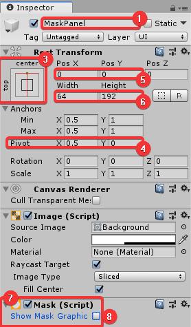 Установка параметров панели-маски в окне Inspector редактора Unity