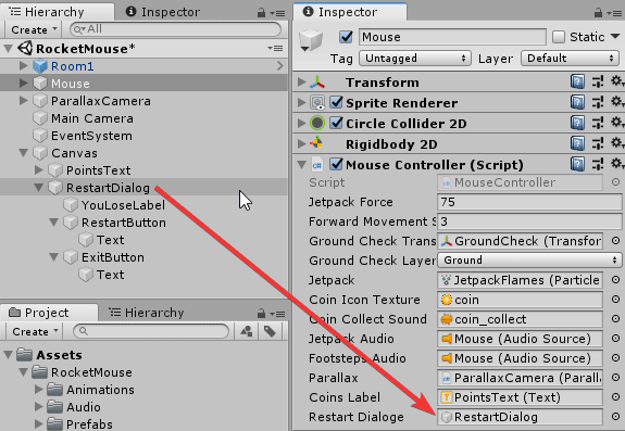 Установка игровому объекту Mouse параметра диалогового окна в настройках Inspector редактора Unity