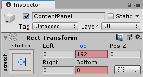 Установка параметра Top в окне Inspector редактора Unity